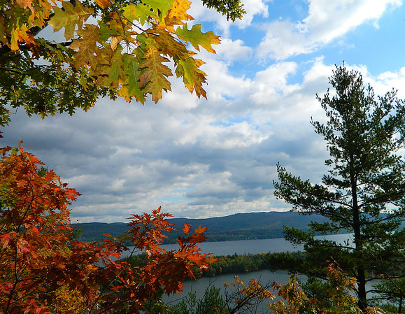 View of Newfound Lake before reaching the summit of Little Sugar Loaf.