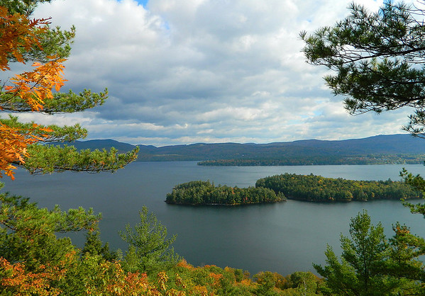 Overlooking Newfound Lake from Little Sugar Loaf.  Cliff Island (center)