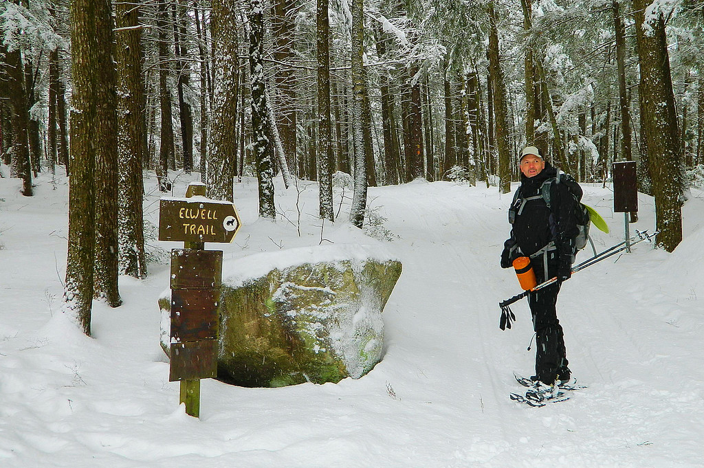 Mark at the beginning of the Elwell Trail