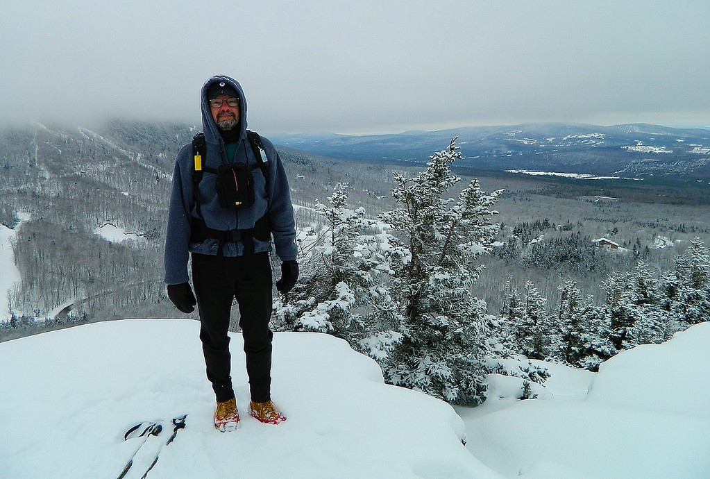 Michael standing on one of the ledges on Bald Mountain